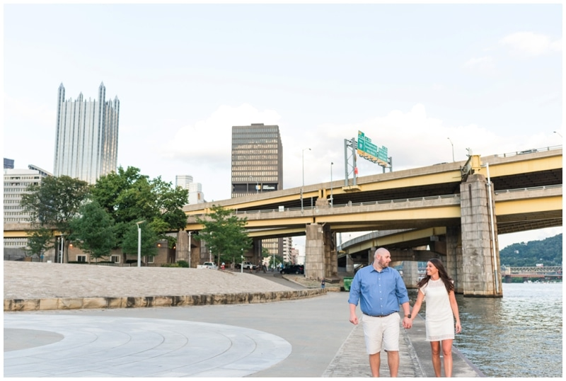 Summer Engagement Session at Point State Park and Roberto Clemente Bridge in Pittsburgh, PA by Madeline Jane Photography