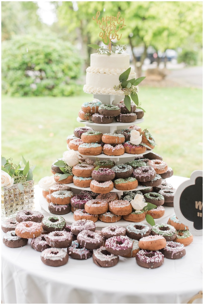 Donut wedding cake at the barn at Ever Thine in Fenelton, PA by Madeline Jane Photography